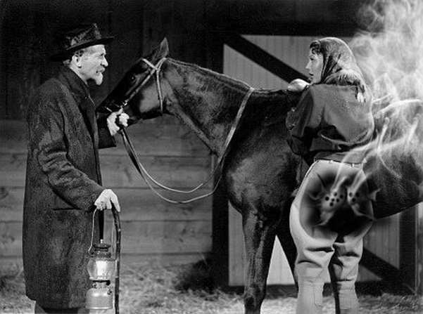 Walter Brennan and Loretta Young 'butt shot' by slr1238