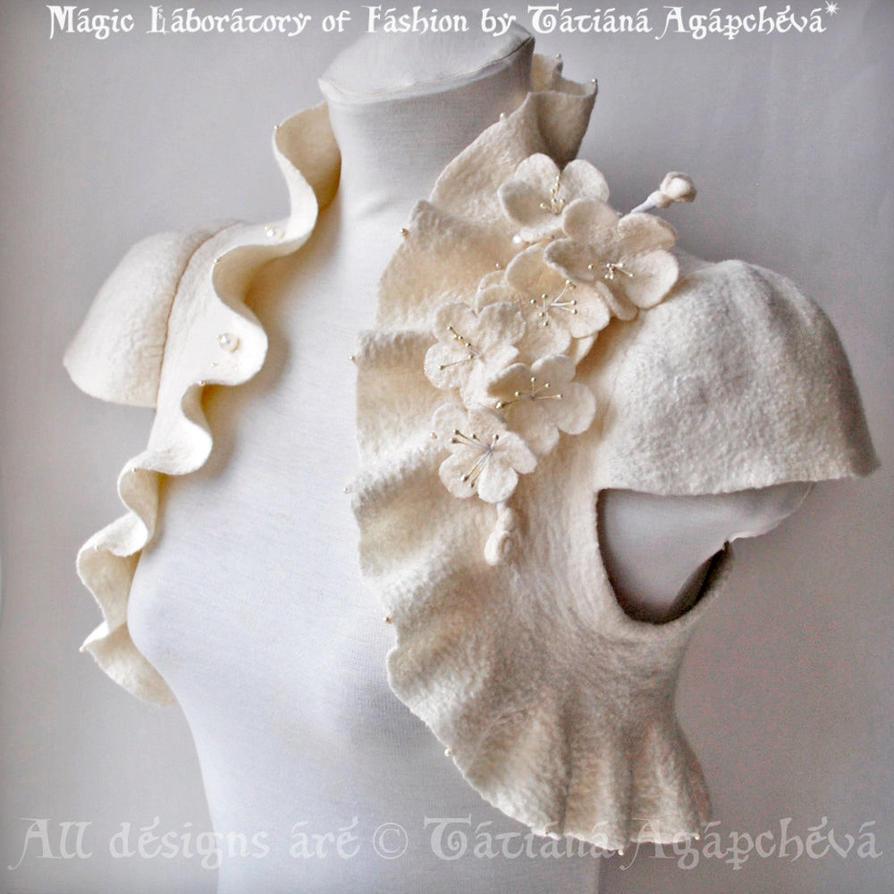 Bridal Bolero, Shrug, Jacket Ivory Bridal Merino/S by TianaChe