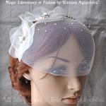 Veil Headband Silk Organza Flowers, Swarovski,