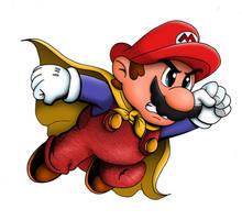 Super Mario with Cape  Cartoon red Version by whittingtonrhett