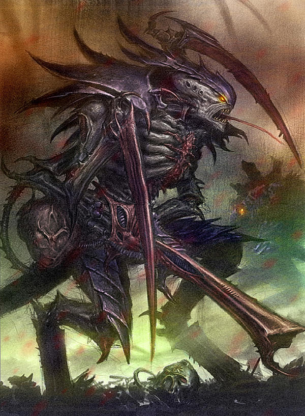 [W40K] Collection d'images : les Xenos - Page 2 Tyranid_warrior_colored_by_majesticchicken-d3iuw44