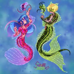 Ladybug and Cat Noir Mermaids