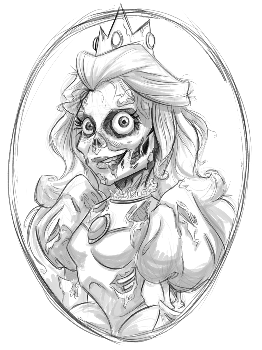 Zombie Princess Coloring Pages : Mermaid zombie drawing images