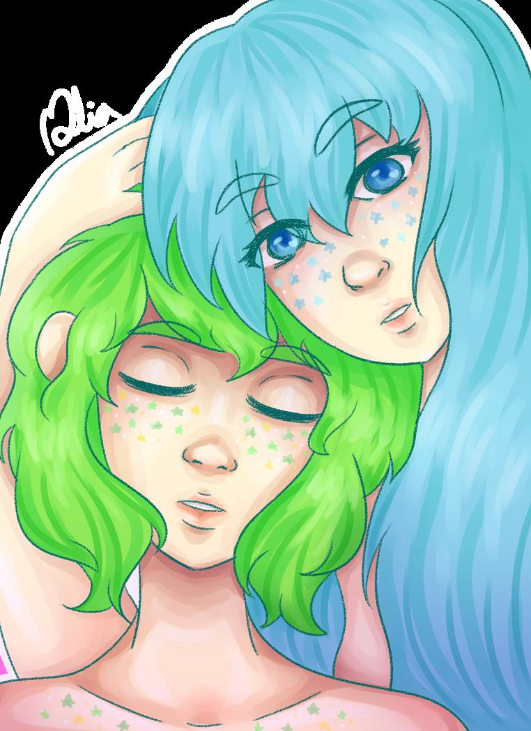 Miku and Gumi  by Misalia