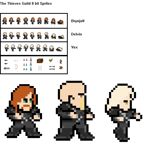 The Thieves Guild 8 Bit Sprites Wip By Zero G Raven On Deviantart