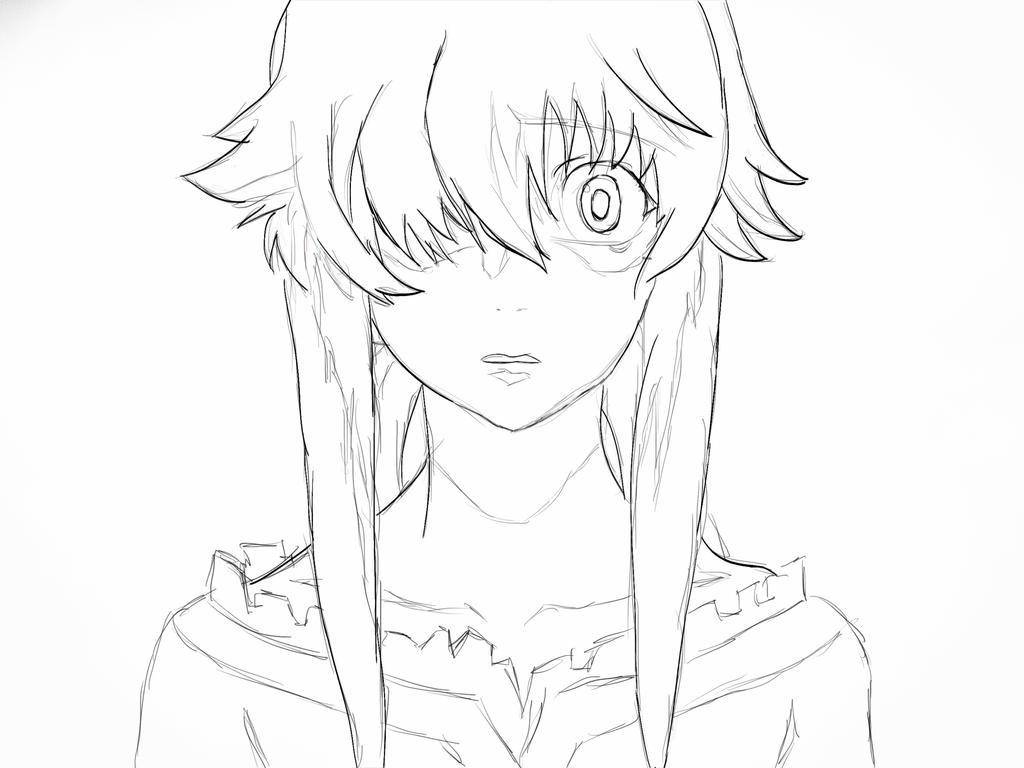Yuno Gasai Sketch By Crow-Kin On DeviantArt