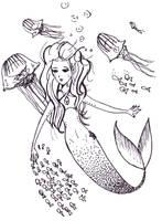 sirena con medusas by Lutih