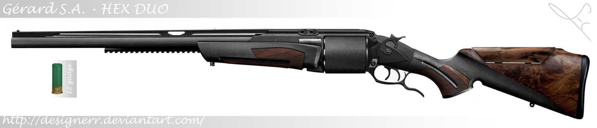 HEX DUO (revolving double barrel shotgun) by Designerr
