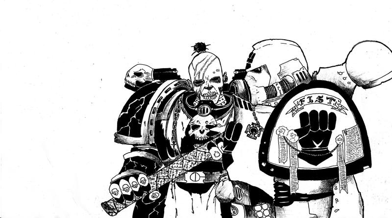 Night Lords and Imperial Fist marine