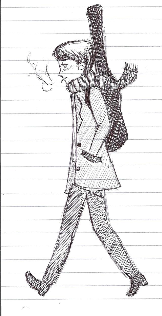 Boy walking alone drawing