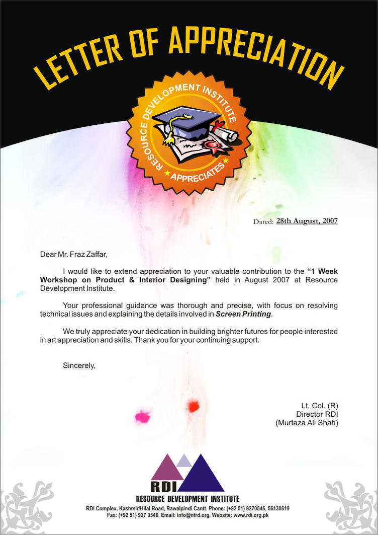 Appreciation Letter | Appreciation Letter By Kkashifkhawaja On Deviantart