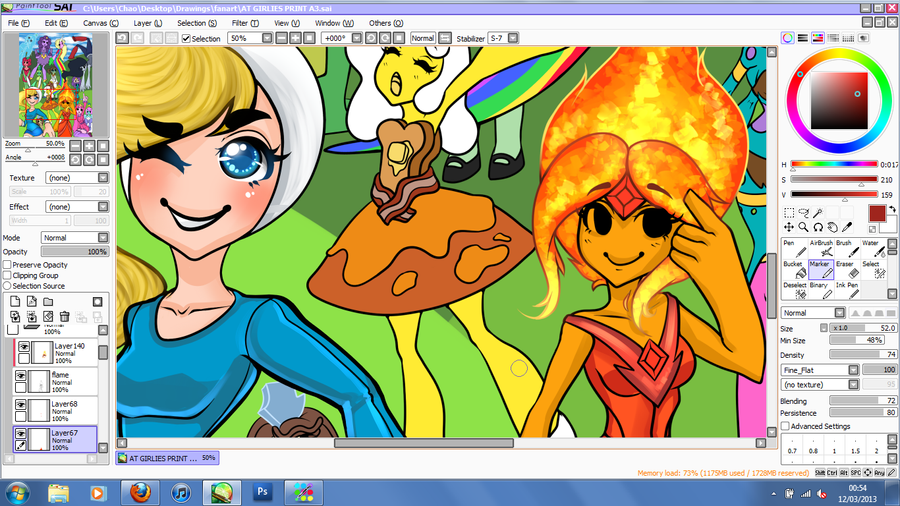 Adventure time girlies- WIP 2 by Chao-Illustrations