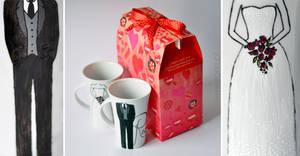 Handpainted Wedding Mug Set