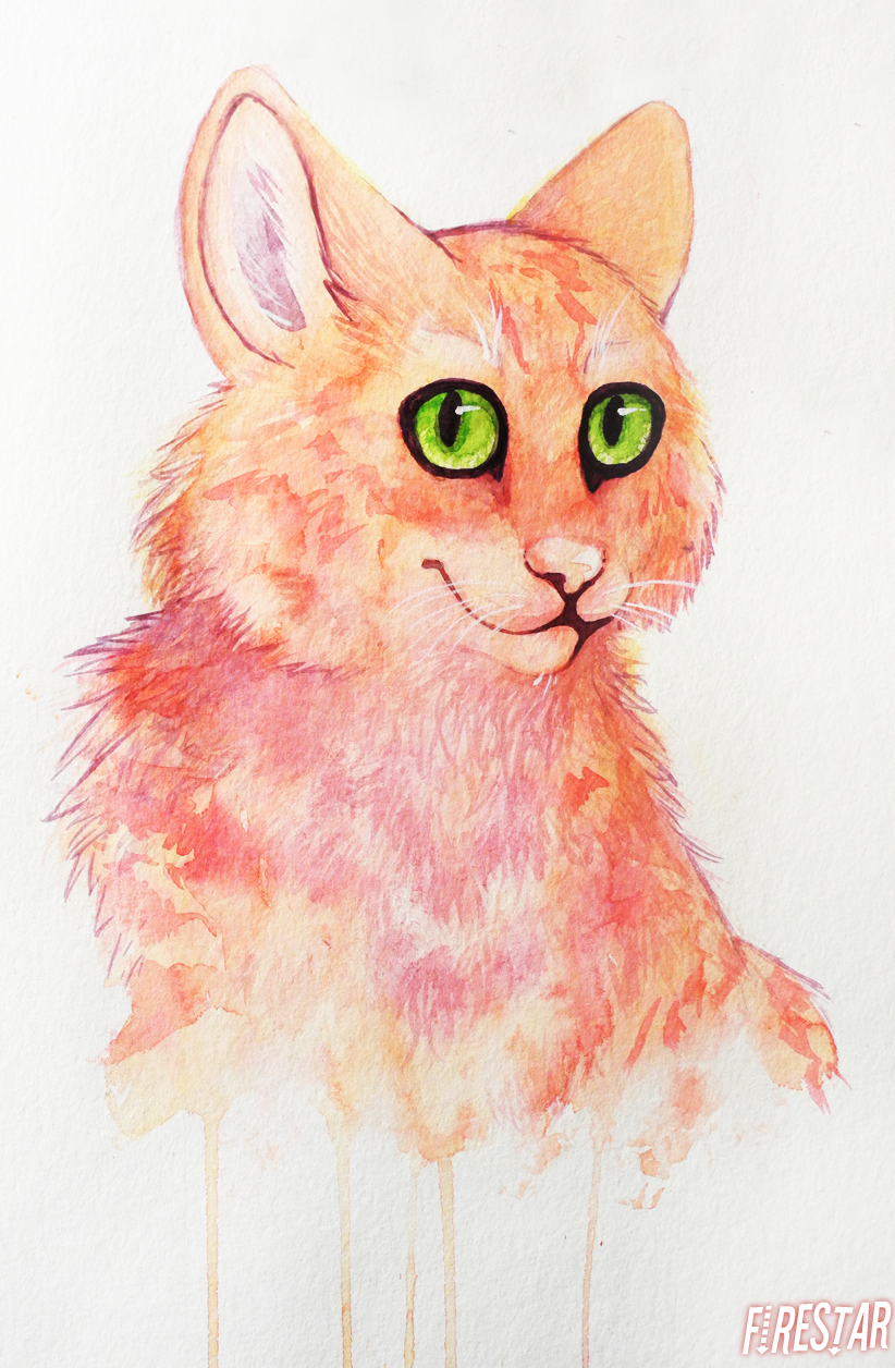 Firestar aquarelle portrait by Karaikou
