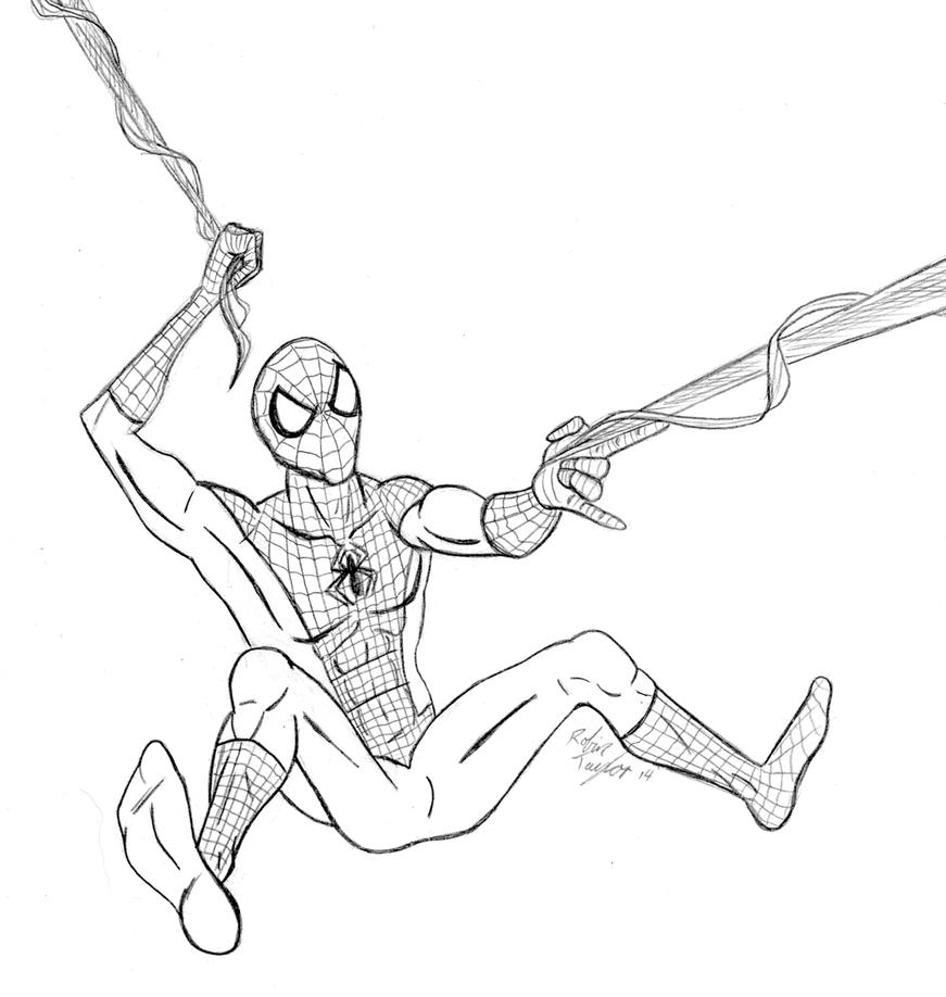 Swinging Spidey Sketch by JeanPaulRobin
