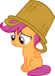 Scootaloo with basket on head