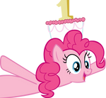 Pinkie Pie with cake as hat - without doors
