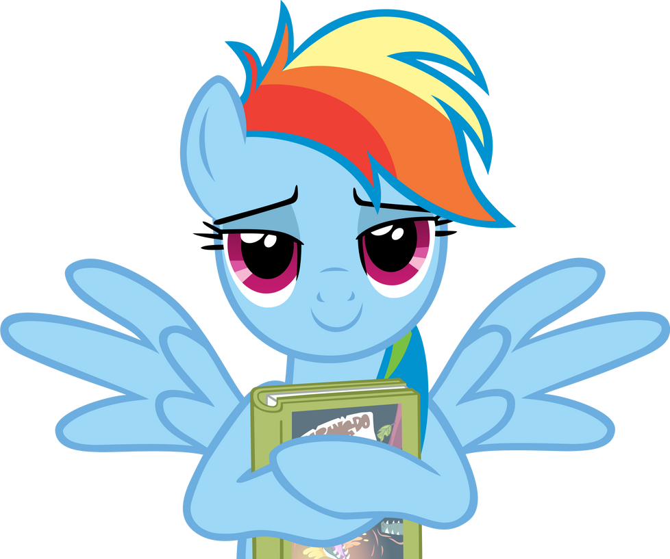 rainbow_dash_with_her_book___both_wings_