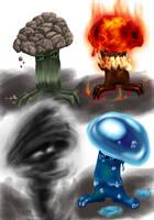 Elemental mushrooms by furball891