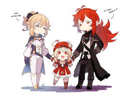 Genshin Fanart Diluc,Jean and klee