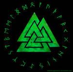 Valknut and Rune circle - green