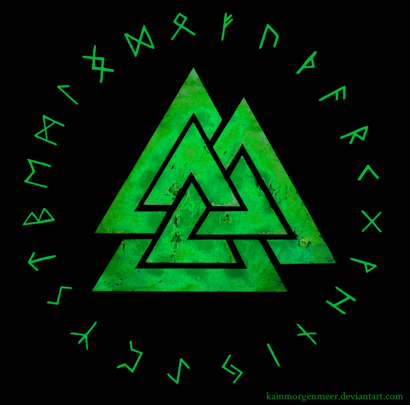 Image of Viking Valknut symbol and rune circle