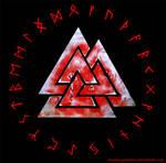 Valknut and Rune circle - red