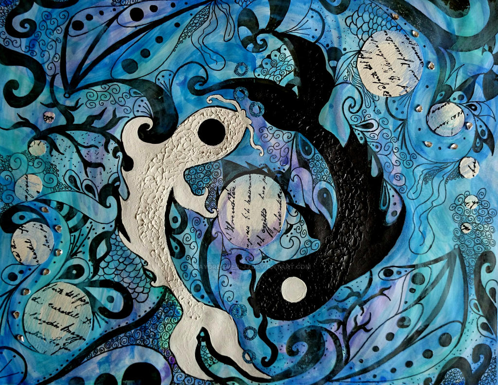 Ying and yang fish finished by daydreamer jj on deviantart for 104 7 the fish
