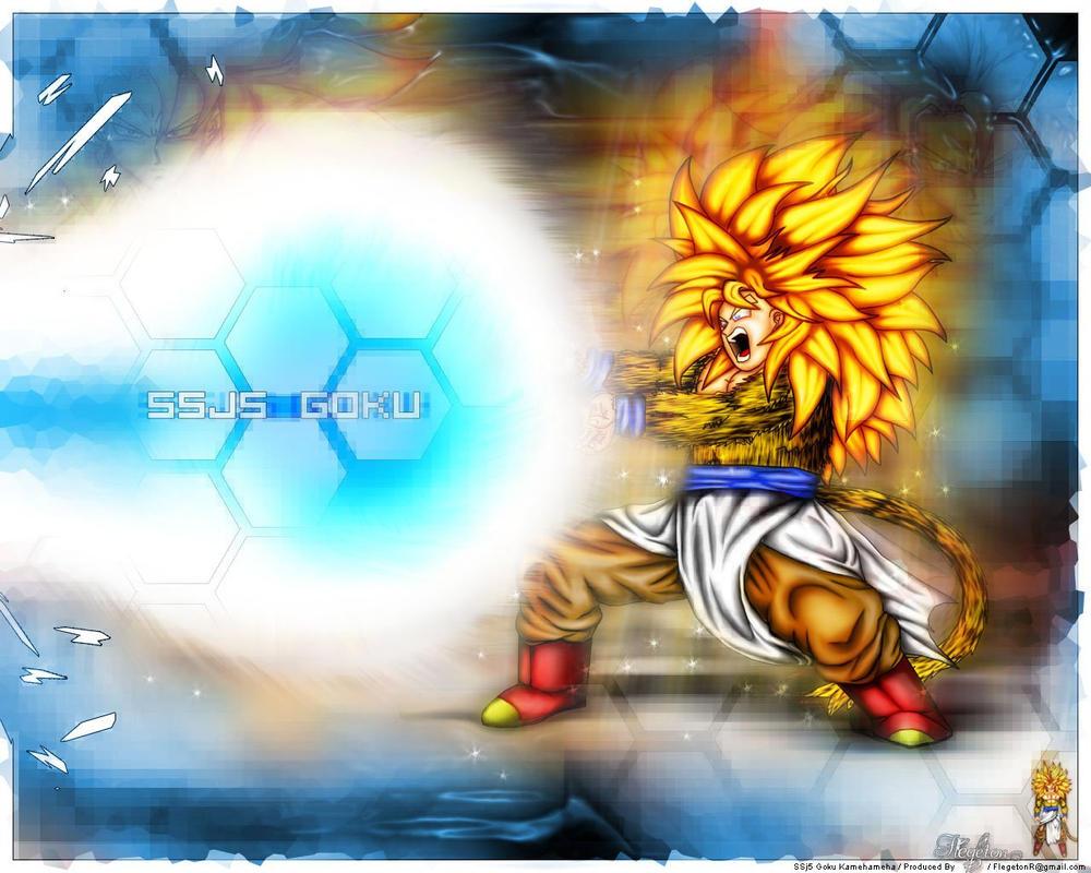 SSJ5 Goku kamehameha by Flegeton on DeviantArt