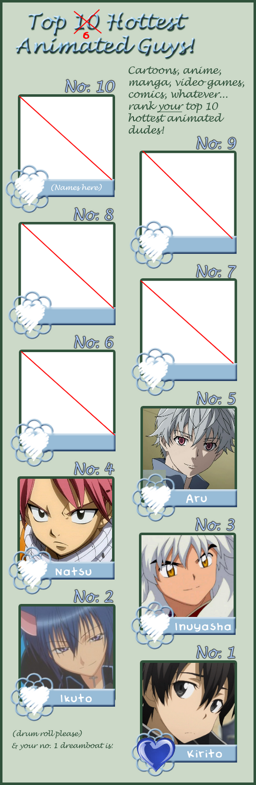 Top 6 Anime Characters : Top hottest anime boy characters by adoredend on deviantart