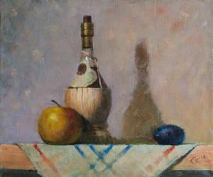 Still life with wine, apple and plum by SergeiKrylov