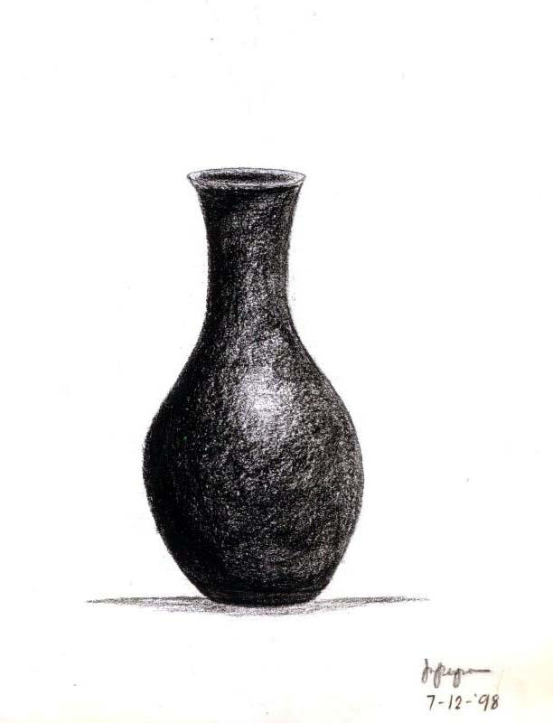 Charcoal Drawing Of A Vase By Miangel On Deviantart