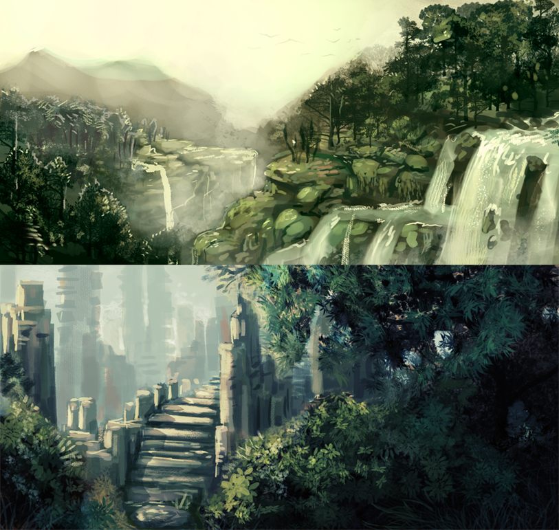 Landscape Speedpaints by Tatchit