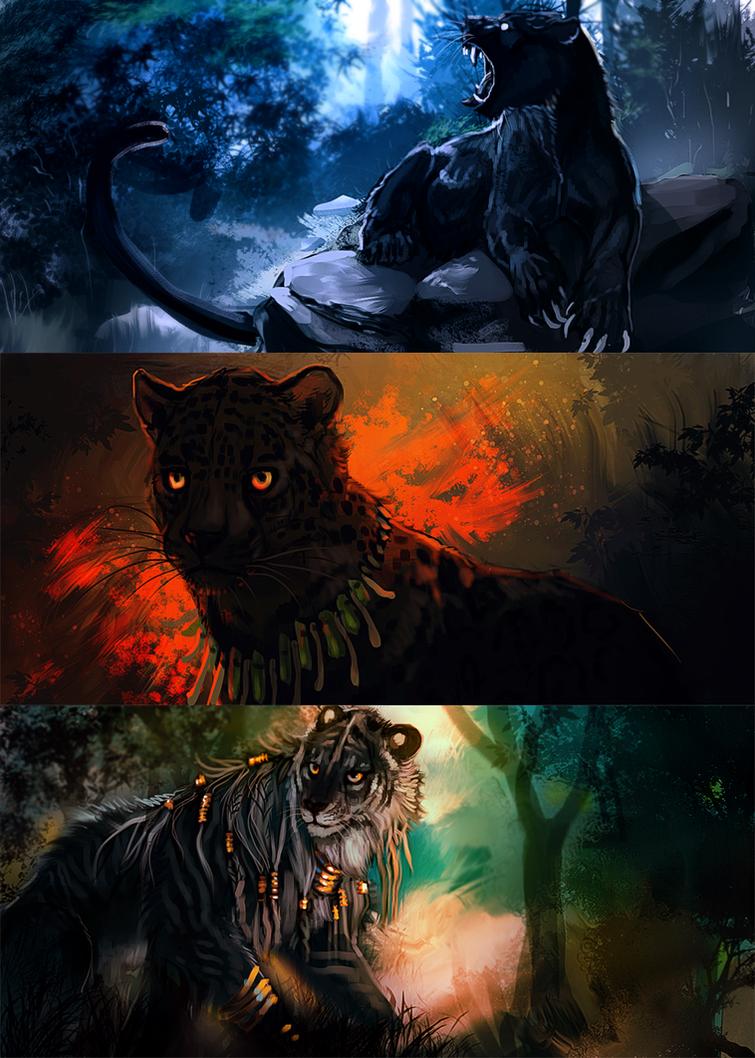 Junglecat speedpaints by Tatchit