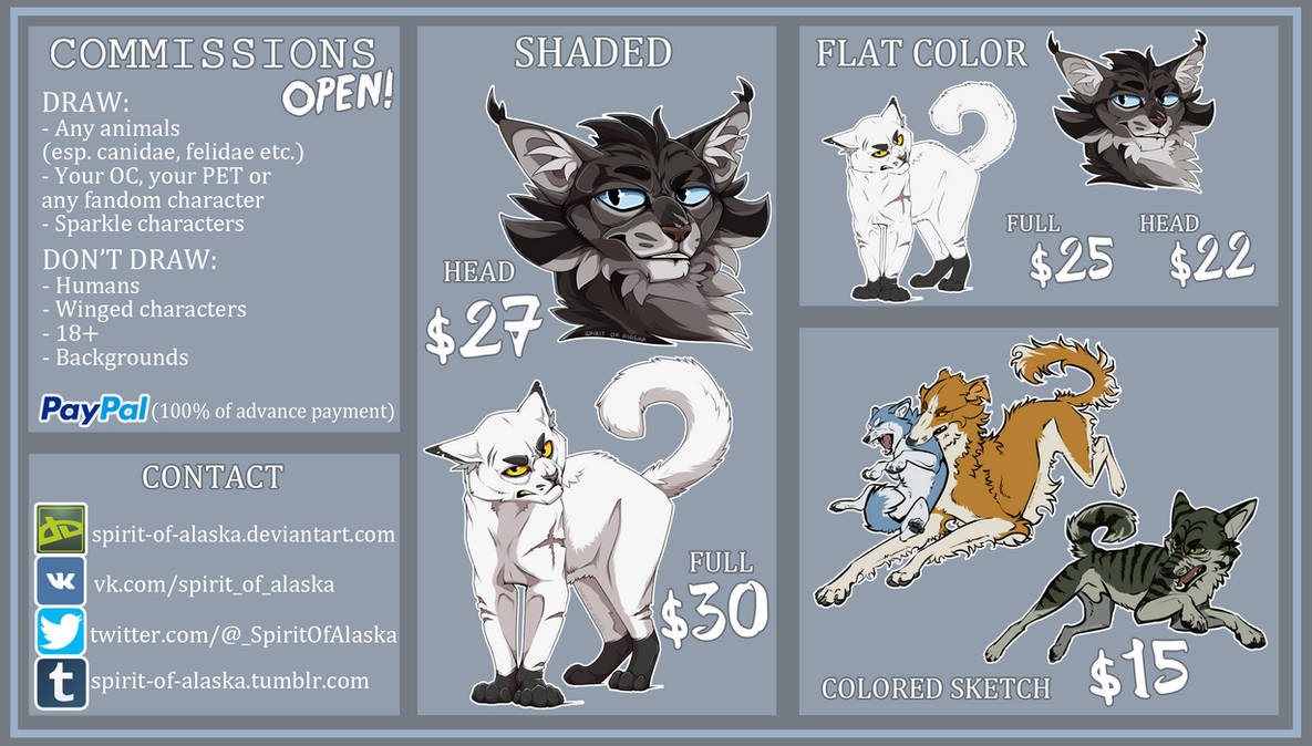 COMMISSIONS OPEN by Spirit-Of-Alaska