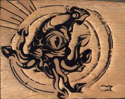 squid woodblock by Rubius