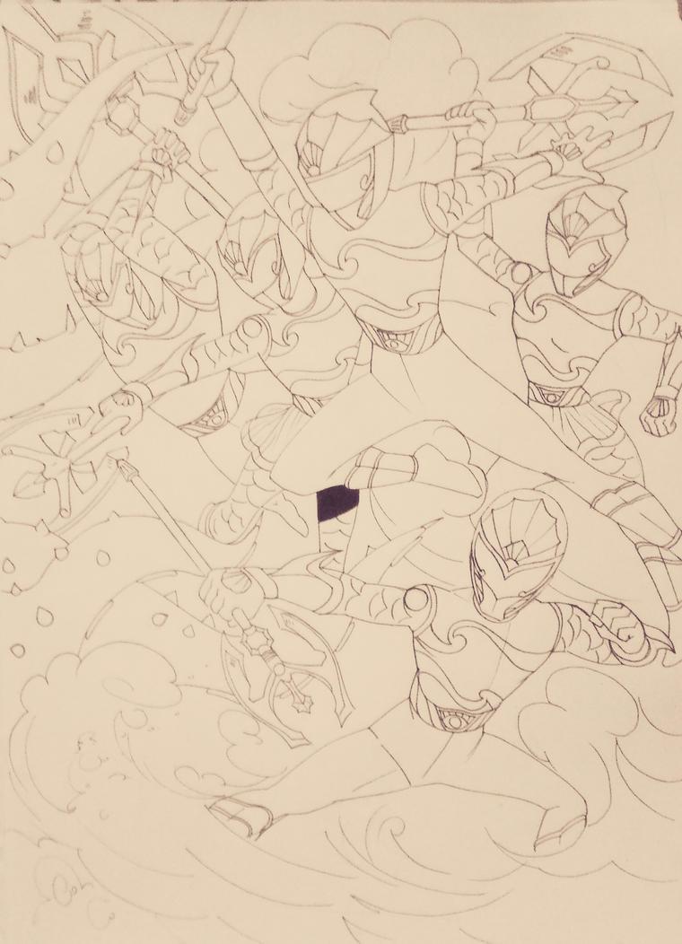 Underwater Sentai line art :-) by DynamicSavior
