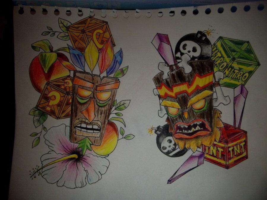 Aku aku vs uka uka by victorjrp on deviantart for Aku aku tattoo