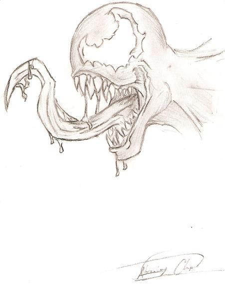how to draw venom face