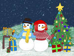 Snowmen enjoying the holidays - Contest Entry by Eclipse-Draws