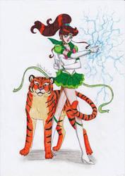 Sailor Jupiter and tiger