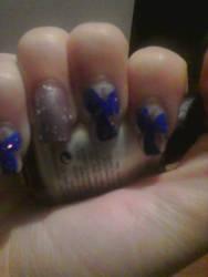 Winter nail art #2 Very Berry peppermint swirls by livingnightmare1992