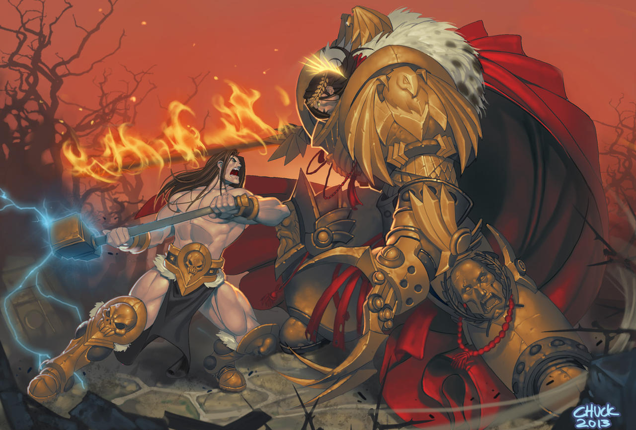 [W30K] L'Empereur de l'Humanité / The Emperor of Mankind The_most_metal_showdown_of_all_time_by_chuck_piresart-d6t8gmy