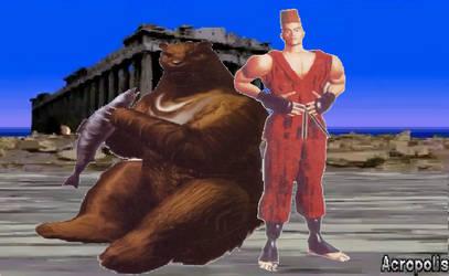 Tekken 1: Kuma/Paul Phoenix by lonerpx