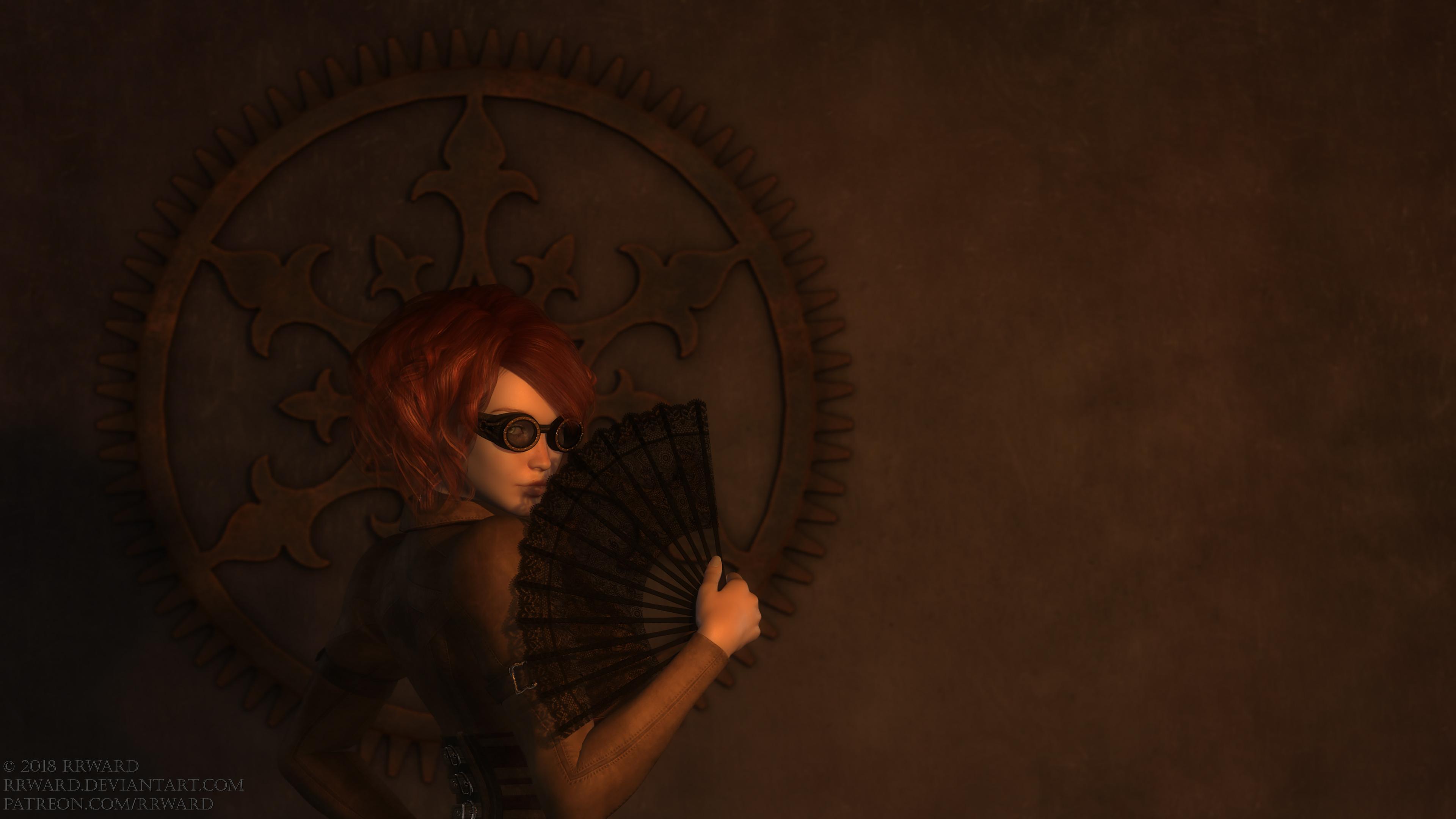 Lady With A Fan -  4K Wallpaper by rrward