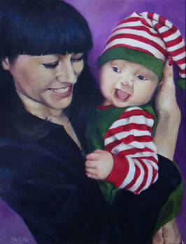 Happy elf with happy mum