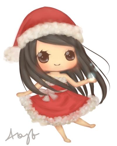 Christmas chibi girl christmas girl by jintii