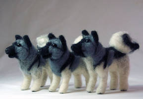Three Needle Felted Elkhounds by The-GoblinQueen