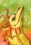 Yellow Dragon Watercolor ACEO
