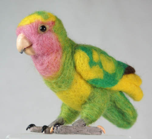 Life size felted Lovebird by The-GoblinQueen